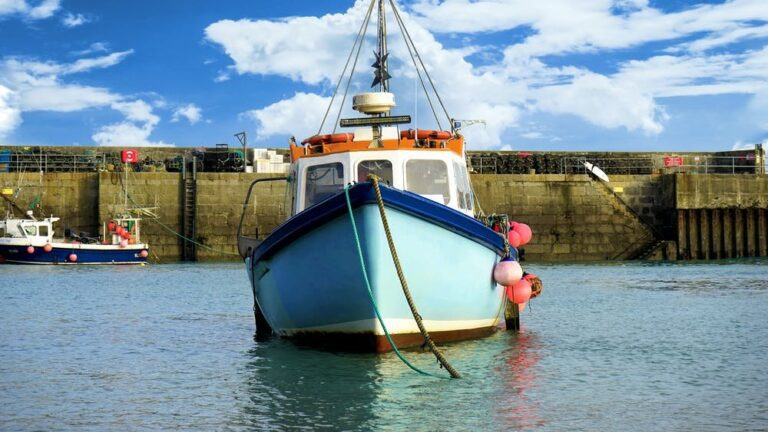 a photo of a boat face on. the boat is light blue and is in the sea at harbour
